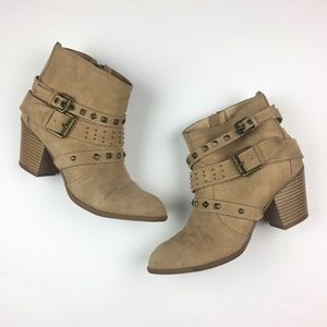 Express Tan Buckle Studded Ankle Booties 7